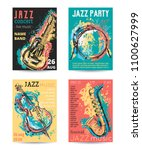 jazz music party with musical... | Shutterstock .eps vector #1100627999
