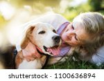 senior woman with dog in spring ... | Shutterstock . vector #1100636894