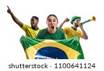 Stock photo brazilian fan friends celebrating 1100641124