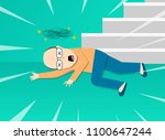 fainted old man after falling... | Shutterstock .eps vector #1100647244