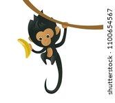 a cartoon monkey with a banana...   Shutterstock .eps vector #1100654567