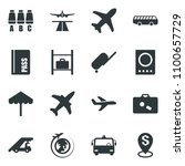 black vector icon set plane... | Shutterstock .eps vector #1100657729