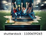 victory. win  winners. happy... | Shutterstock . vector #1100659265