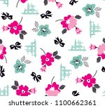 flowers and ribbons pattern for ... | Shutterstock .eps vector #1100662361