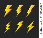 thunder and bolt lighting flash ... | Shutterstock . vector #1100664077