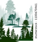 illustration with green forest... | Shutterstock .eps vector #1100670461