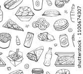 vector seamless fast food...   Shutterstock .eps vector #1100674307