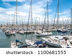 port with yachts in barcelona ... | Shutterstock . vector #1100681555