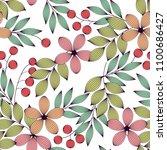 pastel colored elegant leaves... | Shutterstock .eps vector #1100686427