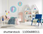 colorful kid's bedroom interior ... | Shutterstock . vector #1100688011