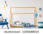 diy bed made of wood  pillows... | Shutterstock . vector #1100688014