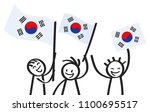 cheering group of three happy...   Shutterstock .eps vector #1100695517