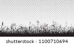 black silhouettes of grass ... | Shutterstock .eps vector #1100710694