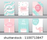 Stock vector set of baby shower invitations cards poster greeting template elephant birthday cake cute 1100713847