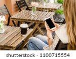 close up white smartphone...   Shutterstock . vector #1100715554