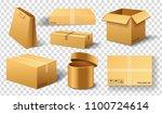realistic empty cardboard box... | Shutterstock .eps vector #1100724614