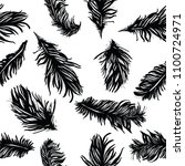 plumage pattern  vector drawing. | Shutterstock .eps vector #1100724971