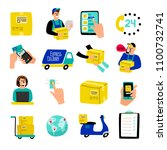 cartoon delivery icons. fast... | Shutterstock .eps vector #1100732741
