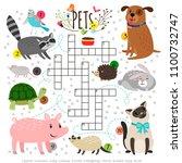 kids crosswords with pets.... | Shutterstock .eps vector #1100732747