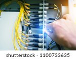 electrician checking the... | Shutterstock . vector #1100733635