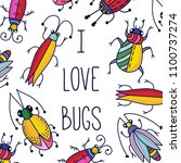 bugs insects doodle line... | Shutterstock .eps vector #1100737274