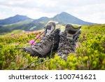 hiking mountain boots  ... | Shutterstock . vector #1100741621
