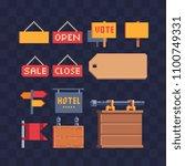 open closed door sign retail... | Shutterstock .eps vector #1100749331