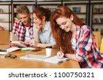 group of happy teenagers doing...   Shutterstock . vector #1100750321