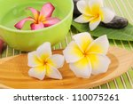 frangipani and polished stone... | Shutterstock . vector #110075261