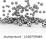 many falling soccer balls... | Shutterstock . vector #1100759084
