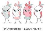 cute bird cool print set. child ... | Shutterstock .eps vector #1100778764