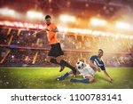 football action scene with... | Shutterstock . vector #1100783141