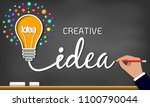 creative idea light bulb icon.... | Shutterstock .eps vector #1100790044