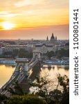 sunrise over budapest skyline ... | Shutterstock . vector #1100801441