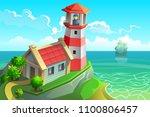stone lighthouse on the rocky... | Shutterstock .eps vector #1100806457