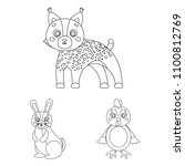 toy animals outline icons in... | Shutterstock . vector #1100812769