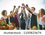group of friends making... | Shutterstock . vector #1100823674