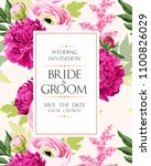 vintage wedding invitation | Shutterstock .eps vector #1100826029