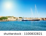 harbor with yachts and sail... | Shutterstock . vector #1100832821
