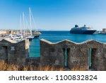 cruise ship in harbor in city... | Shutterstock . vector #1100832824