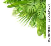tropical leaves in a corner.... | Shutterstock .eps vector #1100834204