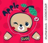 cute teddy bear cartoon with... | Shutterstock .eps vector #1100835269