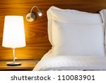 Stock photo bedroom modern design with furnishing night table with two lamp 110083901
