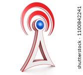 3d network tower sign  antenna... | Shutterstock . vector #1100842241