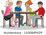 people sitting at table... | Shutterstock .eps vector #1100849429