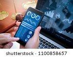 investor analyzing stock market ... | Shutterstock . vector #1100858657