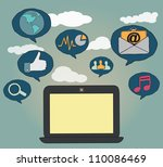 hand drawn concept of social... | Shutterstock .eps vector #110086469