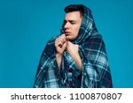young sickness guy with... | Shutterstock . vector #1100870807