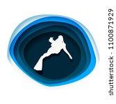 silhouette of diver. icon diver.... | Shutterstock . vector #1100871929
