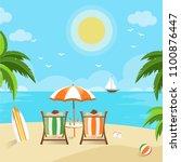 couples enjoying the beach view ... | Shutterstock .eps vector #1100876447